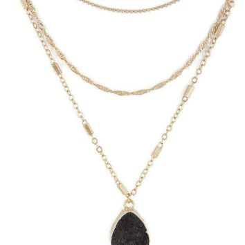 Triple Layer Black Druzy Necklace