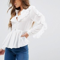 True Decadence Petite Ruffle Detail Blouse at asos.com