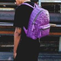 MCM Backpack Girl Boy Bag Backpack B-LLBPFSH Purple