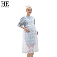 Half Sleeve 2 Tiered Lace High Waist Maternity Dress