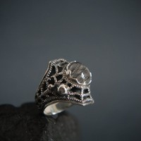 Spider web ring, rutilated quartz ring, sterling silver statement ring, goth ring, modern ring, spider web jewelry, unique ring size 8