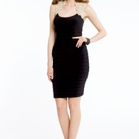 Jersey Shutter Dress with Lace Cap Sleeves