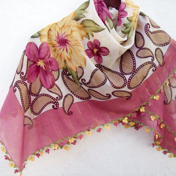 Handmade Traditional Turkish Fabric Scarf-Crochet Oya