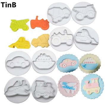 8pc Car Plane Boat Train & Engineering Truck Set Plastic Plunger Cutter Cookie Mold Embossing Cake Decorating Tool Fondant Mould