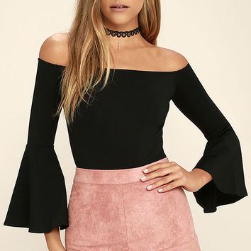Good One Black Off-the-Shoulder Bodysuit