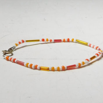 Orange Beaded Bracelet or Small Anklet  White Seed Beads 7 inch Hippie Beach Jewelry Bohemian Handmade Colorful Bugle Beads