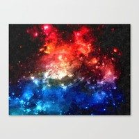Colorful galaxy, blue and red nebula, space themed pattern, oil paint Canvas Print by Peter Reiss