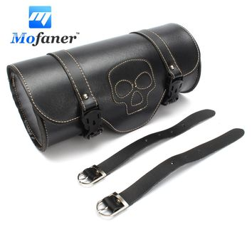 Mofaner Motorcycle Side Saddlebag PU Leather Round Motorbike Saddle Tool Bag For Harley Black
