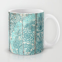 Teal & Aqua Botanical Doodle on Weathered Wood Mug by Micklyn