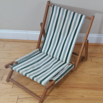 Vintage Wood Canvas Beach Chair Folding Slingback Green Striped