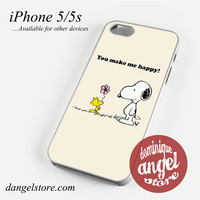 Snoopy You MAke me Happy Phone case for iPhone 4/4s/5/5c/5s/6/6 plus