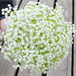 8pcs,lots Starry Flower Artificial Decorative Floral Bride Bouquet DIY Home Decor White Wedding Table Display Fake Flase one(No Vase,But We will present a basket of flowers)