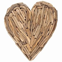 Driftwood Solid Heart Wreath -- Large 14-in