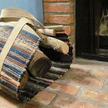 Wood Tote Log Carrier, Hand Woven, Recycled Wool Rag, Woodland Blue Green Tan Gray, Rustic Cabin Fireplace, Traditional Home, Hearth Decor