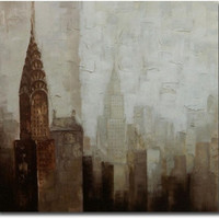 Towers 24x24 Inch Hand Painted Gallery Wrapped Canvas