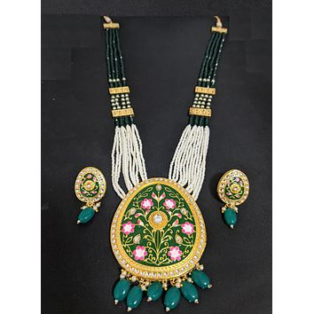 Shiny crystal and seed bead long chain necklace with Meenakari work pendant and stud earring set