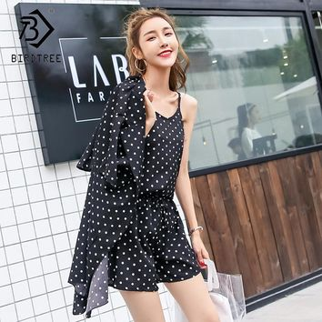 2018 Summer New Arrival Women Three Pieces Sets Fashion Blazer Sexy Sling And Short Short Pants Sweet Polka Dot Print S85029LD