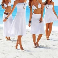 Leshery Sexy Women 3in1 Strapless Bikini Cover up Bandeau Dress Swimwear Beach Skirt (L, white)
