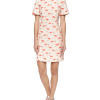 Women's short-sleeve flamingo-print sheath dress - kate spade new york - Shell
