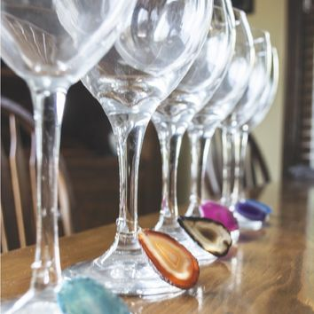 Handcrafted Agate Slice Wine Charms - Set of 6
