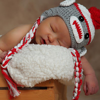 Gray & Red Sock Monkey Earflap Beanie | zulily
