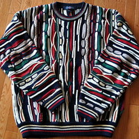 MENS COTTON TRADERS SWEATER - CREW NECK MULTI COLORED COTTON - SIZE LARGE - MINT