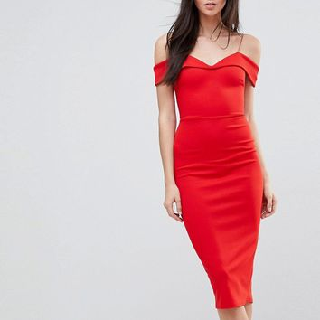 ASOS TALL Scuba Strappy Bardot Pencil Midi Dress at asos.com