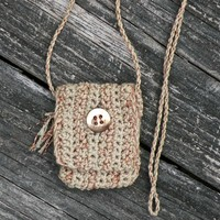 Handmade Spirit Pouch of Organic Cotton and Metallic Acrylic