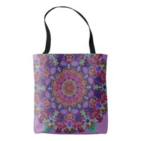 Moroccan romantic colored mandala pattern tote bag