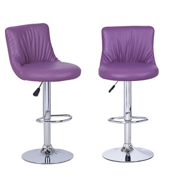 Adeco Purple Hydraulic Lift Adjustable Puckered Leatherette Barstool Chair Chrome Finish Pedestal Base (Set of two)