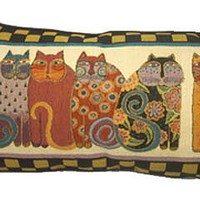 Laurel Burch Feline Family Cats Tapestry Throw PILLOW New Gift