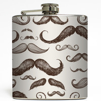 Burgundy - Retro Mustache Flask