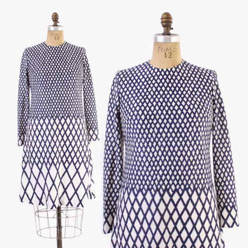 Vintage 60s Roberta Di Camerino DRESS / 1960s Navy & White Designer Nautical Rope Print Dress M