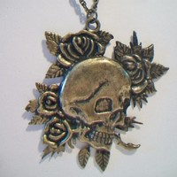 eBlueJay: Skull and Roses Pendant Necklace Skeleton Costume Jewelry Rockabilly Goth Steampunk Fashion
