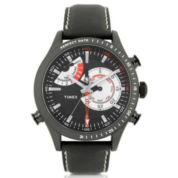 Timex Designer Men's Watches Chrono Timer Black Stainless Steel Case and Leather Strap Men's Watch