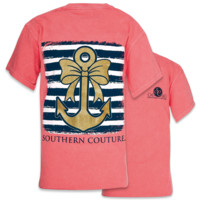 SALE Southern Couture Gold Glitter Anchor Bow Comfort Colors T-Shirt