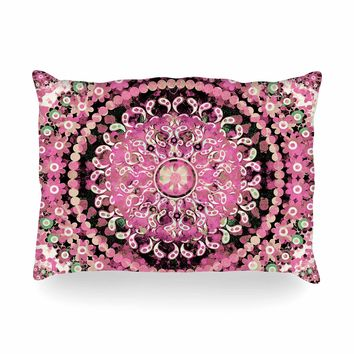 "Nina May ""Pink Mosaic Mandala"" Pink Beige Illustration Oblong Pillow"