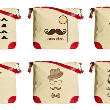 Bowler Fedoras Mustache Printed Canvas Leather Trap Tote Shoulder Bag WAS_33