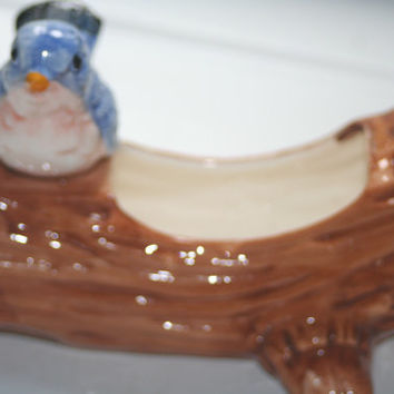 Vintage Bluebird On Log Planter,Home decor