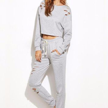 Two Piece Distress Sweatpants Sweater