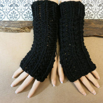 Fingerless Gloves, Arm Warmers, Womens Chunky Knitted Gloves, Winter Wool Black Gloves, Australia, Nchanted Gifts