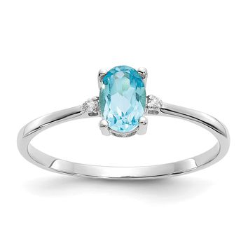 14k White Gold Diamond & Swiss Blue Topaz Oval December Birthstone Ring