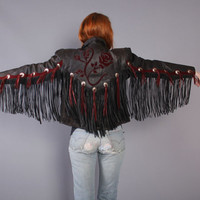 80s Fringe LEATHER JACKET / 1980s Burgundy & Black Floral Biker Jacket, xs-s