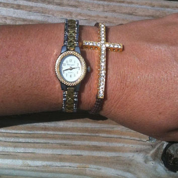 Vintage Style Watch and Cross Bracelet Set