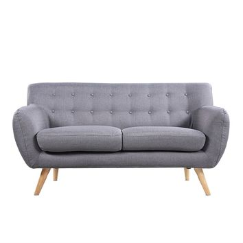 Modern Light Grey Linen Fabric Mid-Century Tufted Sofa Loveseat