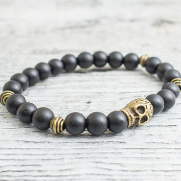 Matte black onyx beaded stretchy bronze skull bracelet, custom made yoga bracelet, mens bracelet, womens bracelet