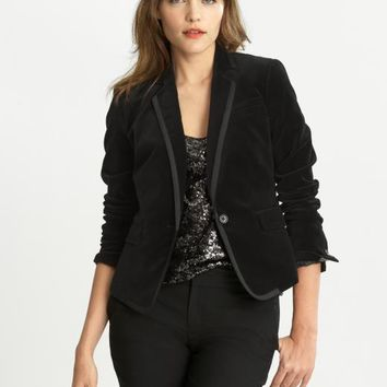 Banana Republic Velvet Blazer Size 2 - Black