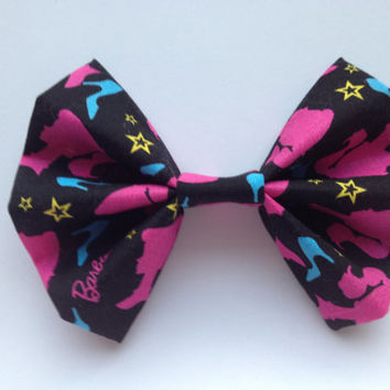 Pink Barbie Silhouette Fabric Hair Bow