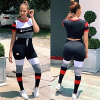 Sexy Red Womens Stylish CHAMPION Two Pieces Tee Pants Sportswears g16