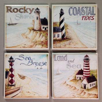Lighthouse coasters, lighthouse home decor, rocky shores, coastal tides, sea breeze, land and sea, beach coasters, seashore, beach cottage